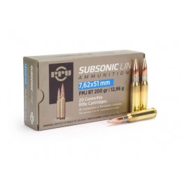 Munição PPU 308W Subsonic 200GRS FMJ