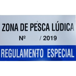 """Placa Sinalética """"Zona Pesca Ludica"""""""